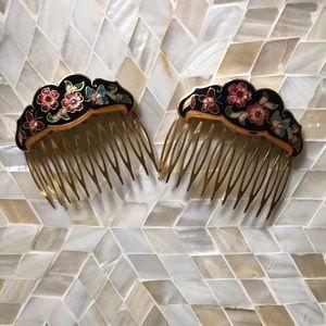 Vintage Butterfly Cloisonné Enamel Hair Combs